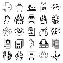 Print icons. set of 25 editable outline print icons