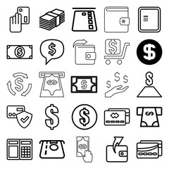Payment icons. set of 25 editable outline payment icons