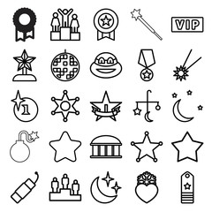 Star icons. set of 25 editable outline star icons