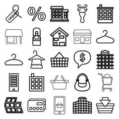 Retail icons. set of 25 editable outline retail icons