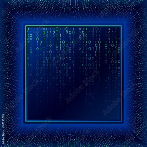 Circuit board in perspective. Abstract 3d electronic scheme on blue ...