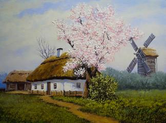 Rural oil landscape paintings, village. Fine art.