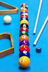 Billiard pool game balls lined up on billiard table