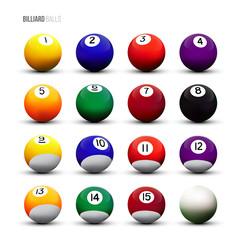 Vector isolated billiard balls on white background.