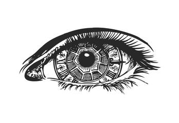 Eye-clock in steampunk style