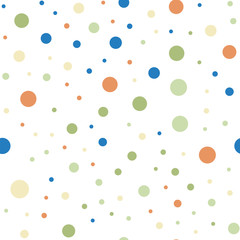 Colorful polka dots seamless pattern on white 6 background. Terrific classic colorful polka dots textile pattern. Seamless scattered confetti fall chaotic decor. Abstract vector illustration.