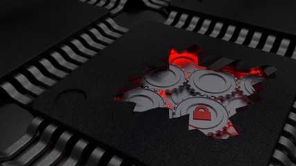 Cracked open CPU reveals red gears mechanism cybersecurity concept 3D illustration