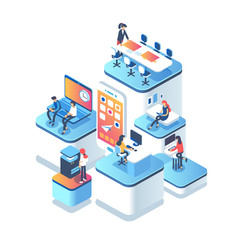 People work in a team and achieve the goal. Startup concept. Launch a new product on a market. Isometric illustration.