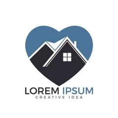 Heart shape house logo design. Property Logo Template.