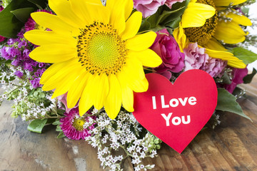I Love You Card with Bouquet of Summer Flowers