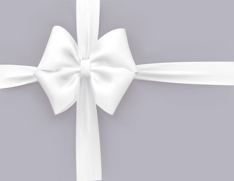 White vector 3d bow and ribbon. Template for greeting card, sale promo or gift certificate.