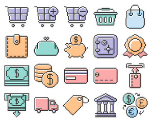 Collection of outlined pixel icons: Finance and banking