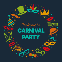 Carnival party - poster with funny elements. Vector.