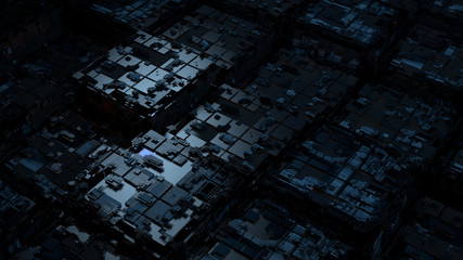 Abstract 3d render of technological background. High detailed complex cube structure. Tech digital concept. Random square forms.