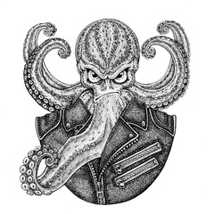 Octopus. Vintage cartoon character. Octopus wearing biker motorcycle leather jacket. Fantasy creature for t-shirt, badge, logo, poster, emblem