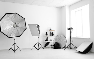 Professional equipment in modern photo studio