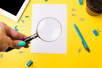 office accessories on yellow background top view. layout for office