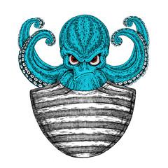 Octopus. Vintage cartoon character. Fantasy octopus sailor, navy, seaman.