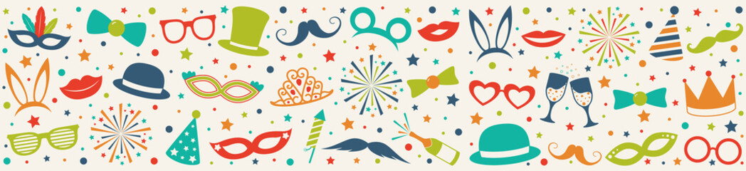 Panoramic header - carnival party, birthday party or photo booth. Vector.