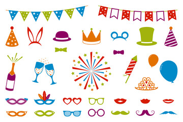 Isolated decorations for carnival party, birthday party or photo booth. Vector.