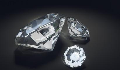 Luxury diamonds on black background. 3D rendered illustration.