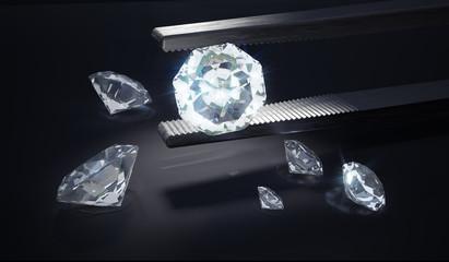 Luxury diamond in tweezers on black background. 3D rendered illustration.