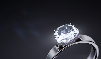 Luxury silver ring with diamond on black background. 3D rendered illustration.