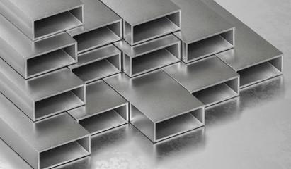 Steel metal rods. Metallurgy industry concept. 3D rendered illustration.