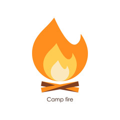 Camp fire icon. Simple vector illustration.