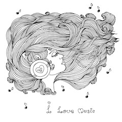 Vector portrait in profile of a girl with long wavy hair. Girl with closed eyes listening to music in headphones. Phrase I love music. Icon of musical notes. Pattern for coloring book A4 size.