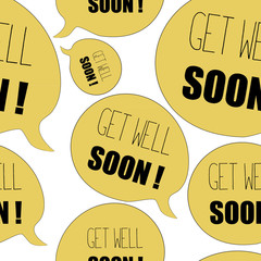 Yellow bubbles with Get Well Soon quote. Seamless pattern. Vector illustration on white background