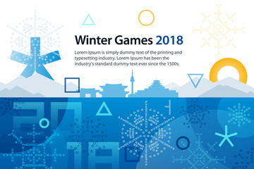 Winter sports games in Republic of Korea 2018. Symbols of sports competitions. Colorful abstract background for advertisement, poster, flyer or web banner. Vector illustration