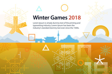Winter sports games in Republic of Korea 2018. Symbols of sports competitions. Colorful abstract background with space for text. Template for advertisement, poster, flyer or web banner.