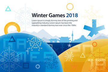Sports competitions in South Korea, February 2018. Symbols of sports competitions. Colorful abstract background with space for text. Vector template for advertisement, poster, flyer or web banner.
