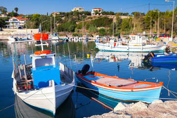 Old wooden fishing boats moored in Tsilivi