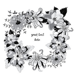 Vector illustration of black and white flowers wreath