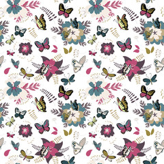 Colorful butterflies and flowers seamless pattern. Vector illustration on white background