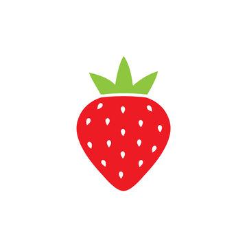 Ripe red strawberry vector icon