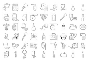 Medical tools icon set, outline style