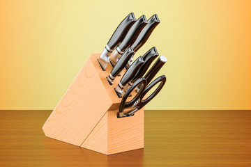 Kitchen knives with wooden block on the table. 3D rendering