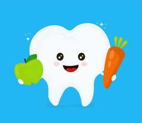 Cute smiling happy healthy tooth