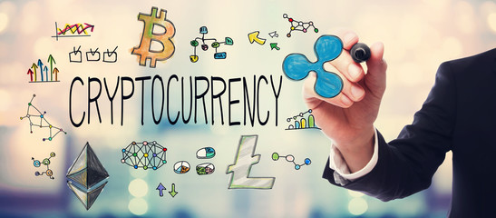 Cryptocurrency with businessman on blurred abstract background