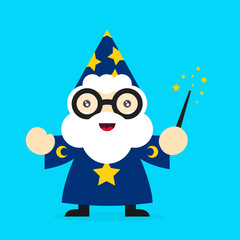 Cute funny smiling wizard. Vector modern