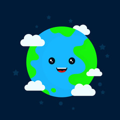 Happy funny cute smiling earth character.