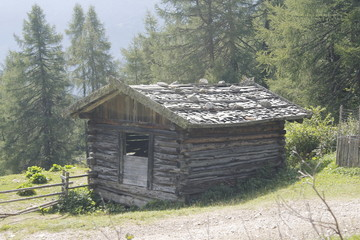 typical mountain huts on the Alps in Italy