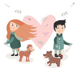 Illustration of a boy and girl who fall in love