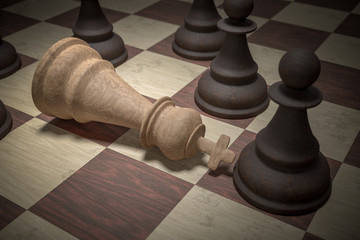 Checkmate in chess. White king is surrounded by black pawns. 3D rendered illustration.