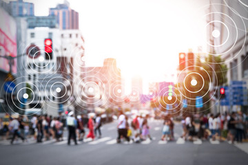 Fototapete - Big data , Iot , Internet of things every where , beacon and smart city technology concept. Neural networks connect signal graphic and blur group of people in metropolis.