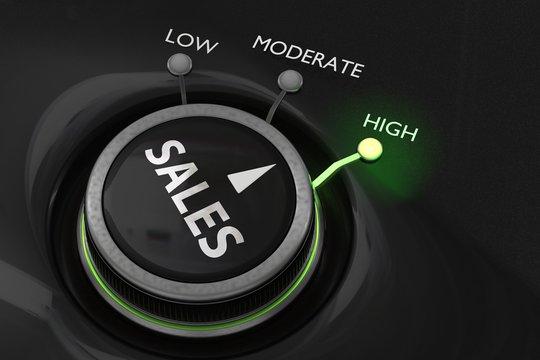 Maximum sales concept. Button for maximize sales. 3D rendered illustration.