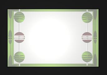 Abstrakter Hintergrund in einer Kastenform mit Glas hinter dem Kugeln an einer Stange sind in apfelgrün, schwarz und weiß. 3d render